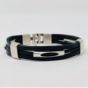 Jewelry - NEW Silver tone leather bracelet Turkish Design